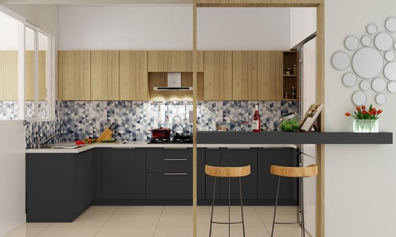 Minimal kitchen partition design ideas with wood or glass materials