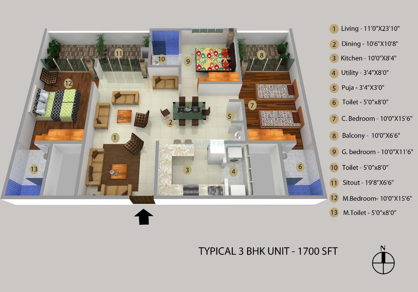 3 BHK 1700 Sq. Ft. Apartment for Sale in Samruddhi Winter Green at Rs  4600/Sq. Ft, Bangalore
