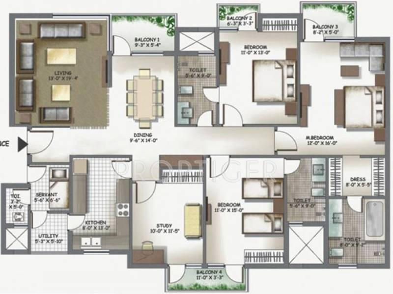 The Antriksh Overseas Apartments (3BHK+3T (1,700 sq ft)   Study Room 1700 sq ft)