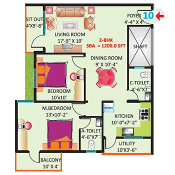 2 BHK 1200 Sq. Ft. Apartment for Sale in Sri Mitra Symphony at Rs 4108/Sq.  Ft, Bangalore