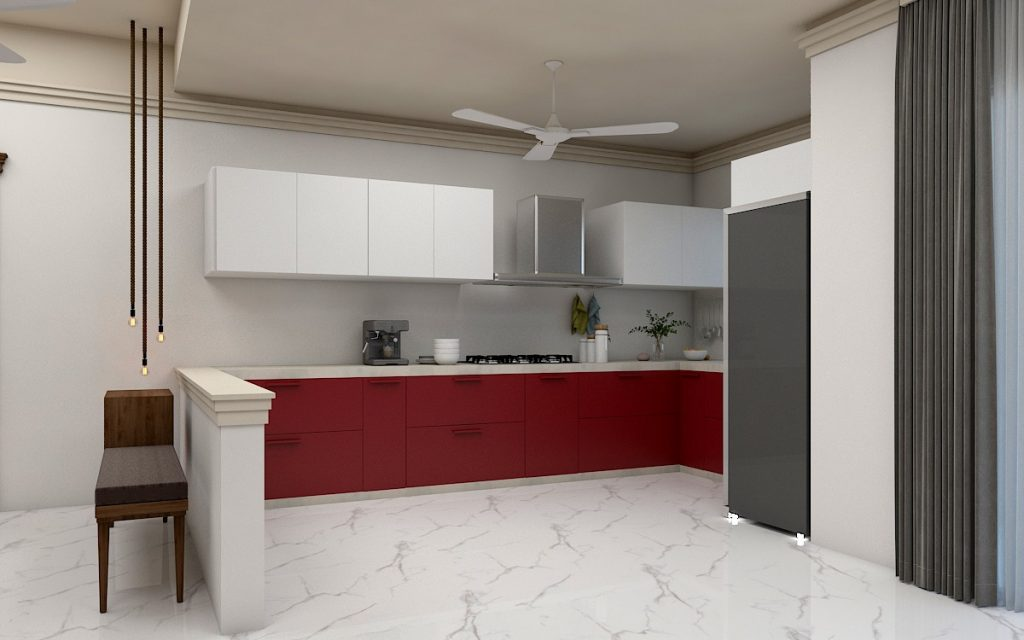 Kitchen in 3 BHK flat