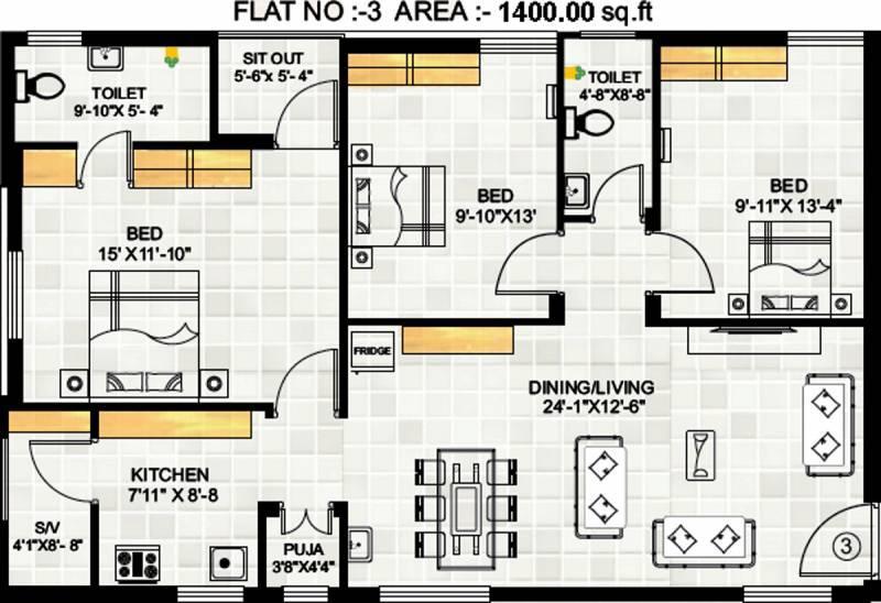 3 BHK flat in Hyderabad