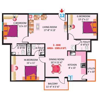sri mitra symphony apartment 3bhk 1585sqft 1