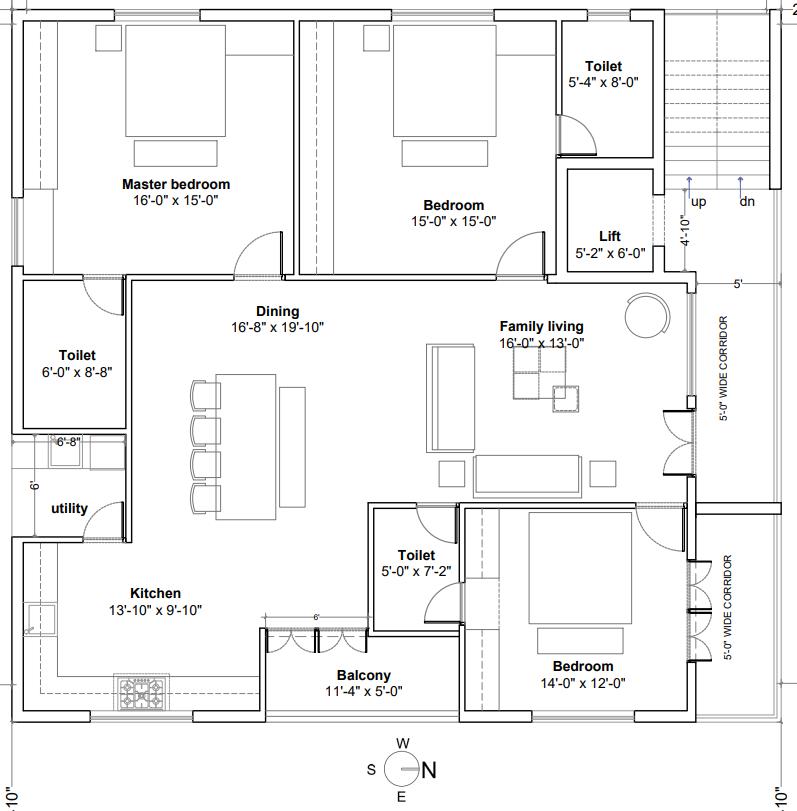 3 BHK luxury flat floor plan